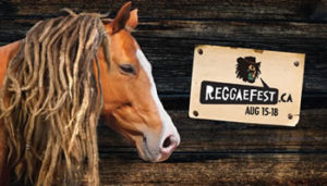 A horse with dreadlocks faces a music festival sign.