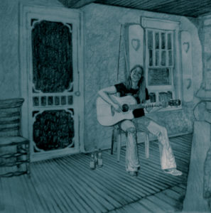 Cartoon image of a woman sitting playing guitar