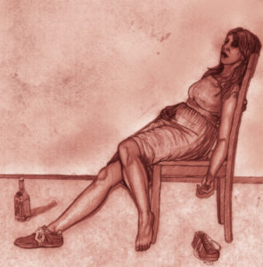 Cartoon image of woman lounging in chair