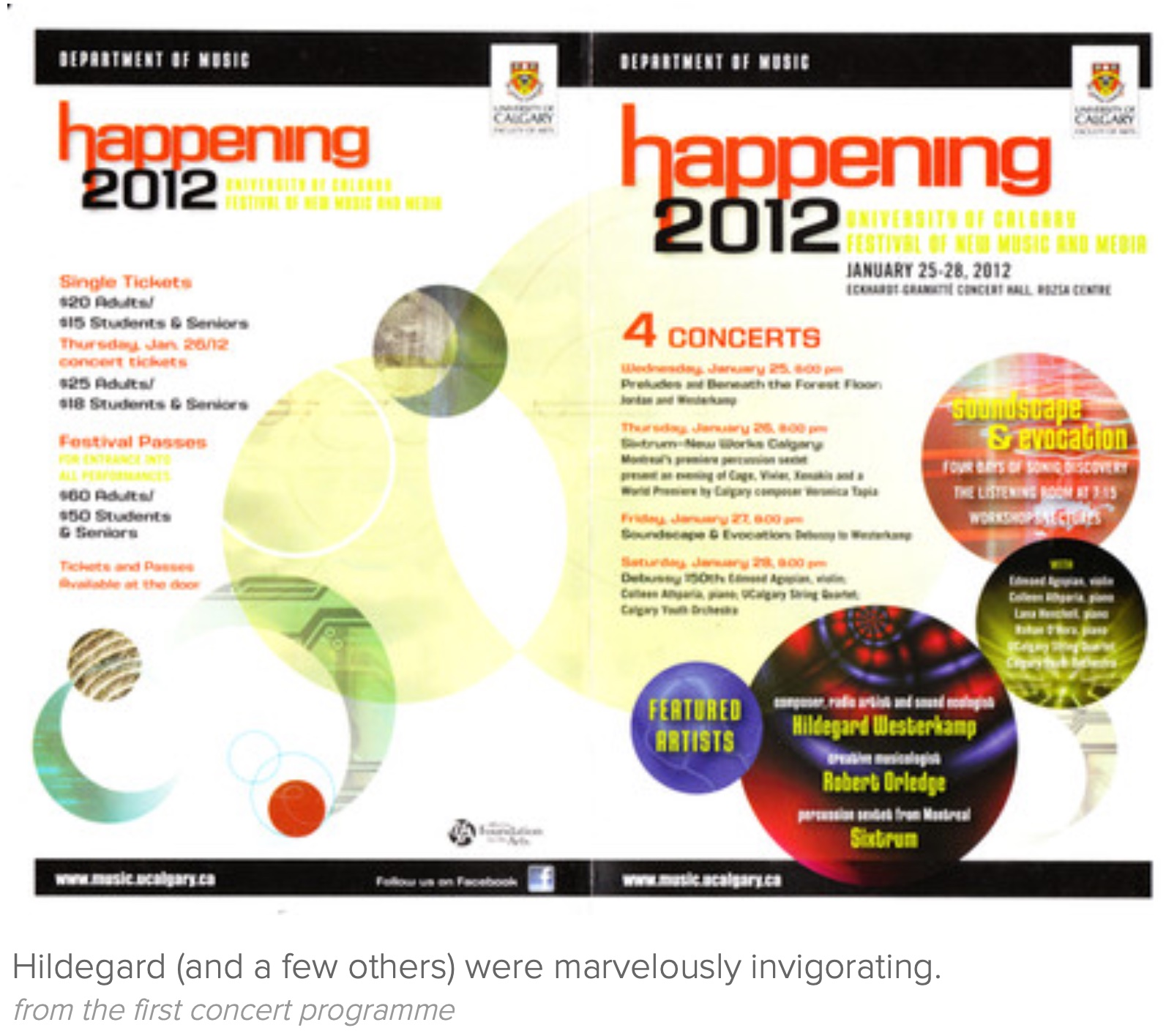 Front and back of open brochure cover saying Happening 2012.